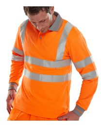 Orange Long Sleeved Hi-Vis Polo Shirt