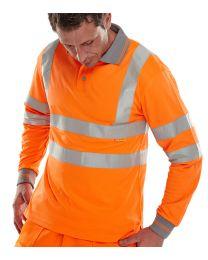 Orange Long Sleeved Hi-Vis Polo Shirt
