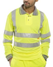 Yellow Long Sleeved Hi-Vis Polo Shirt