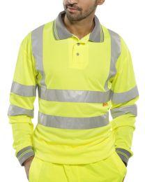 Yellow Long Sleeved Hi-Vis Polo Shirt