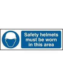 Safety helmets must be worn in this area (Self adhesive vinyl)