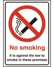 No smoking its against the law to smoke in these premises (Rigid PVC)