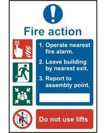Fire Action Procedure Sign (Self adhesive vinyl)