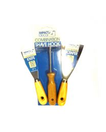3 Pack Shave Hook Combination, Filling Knife, Wall & Paint Scraper Set